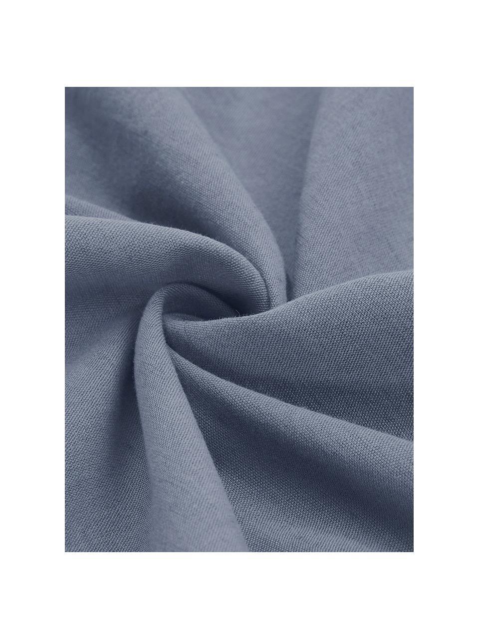 Pościel lniana z efektem sprania Nature, Niebieski, 135 x 200 cm + 1 poduszka 80 x 80 cm