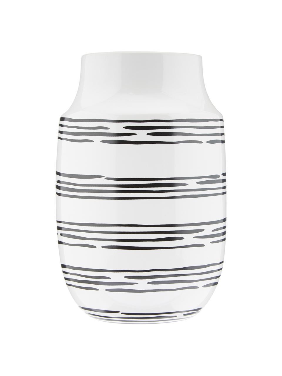Vase en céramique fait main Dora, Blanc crème, noir