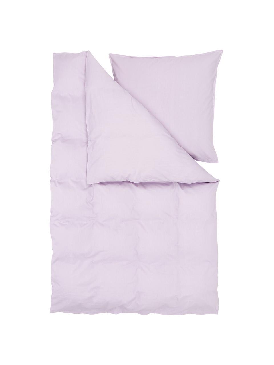 Gewaschene Baumwoll-Bettwäsche Arlene in Lavendel, Webart: Renforcé Fadendichte 144 , Lila, 240 x 220 cm + 2 Kissen 80 x 80 cm