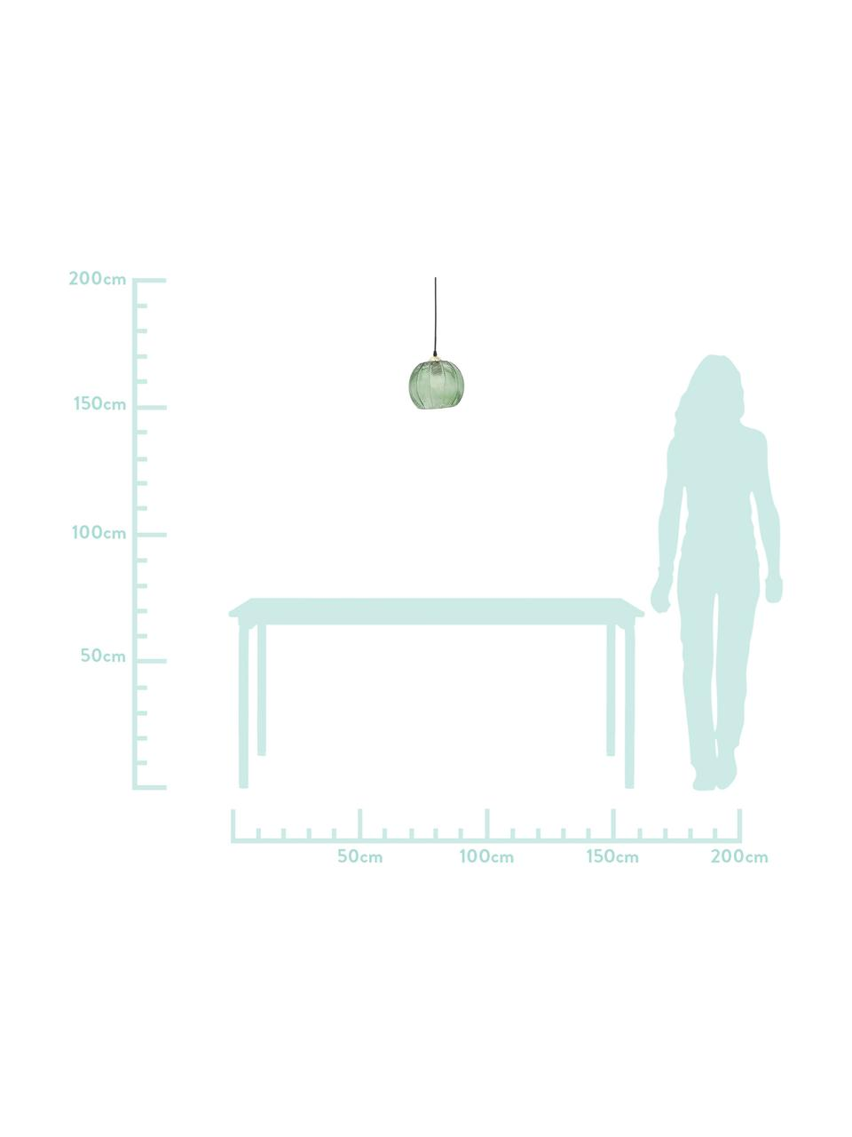 Mała lampa wisząca ze szkła Luisa, Zielony, Ø 22 x W 20 cm