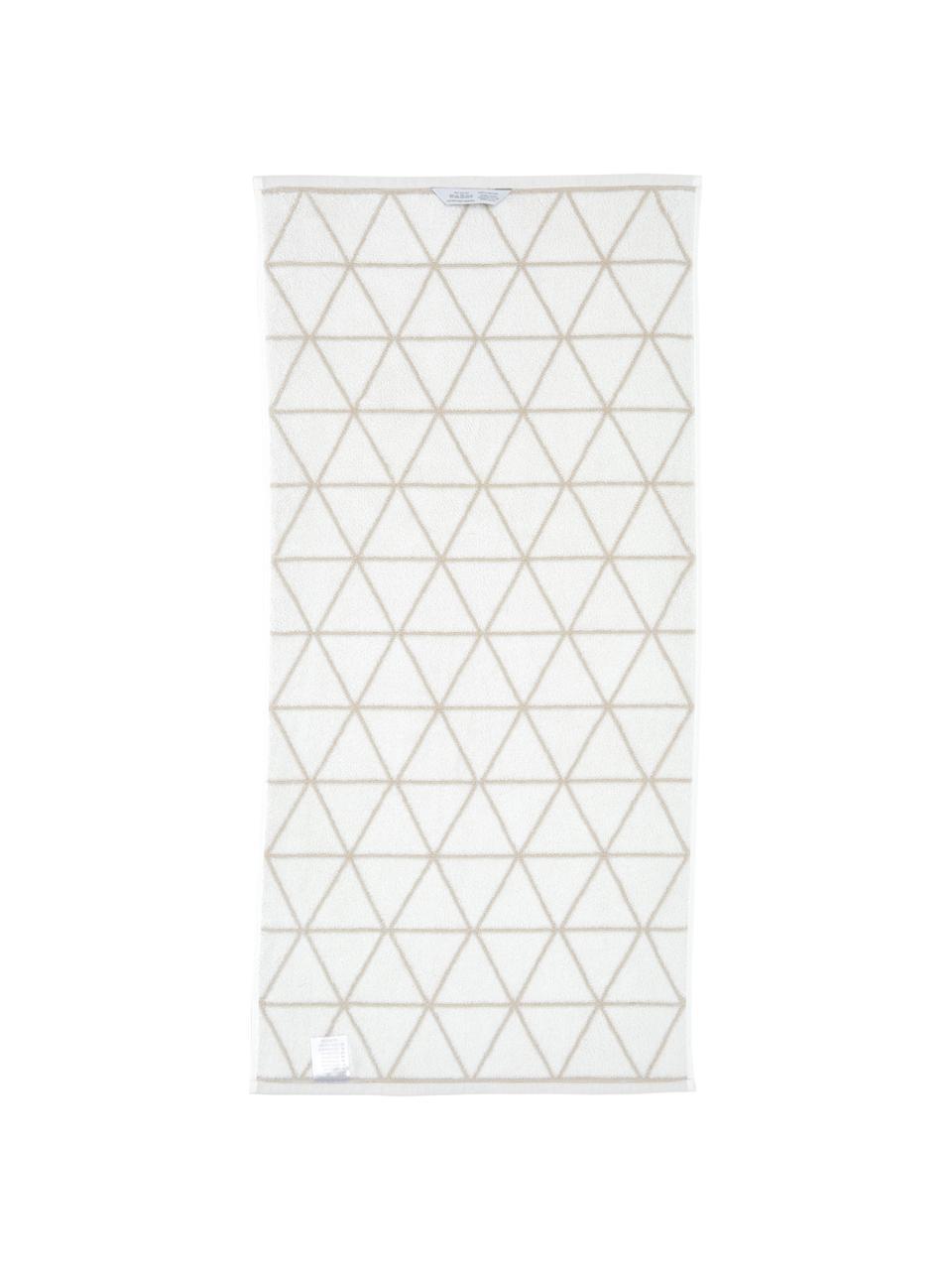 Serviette de toilette réversible en coton pur Elina, Couleur sable, blanc crème