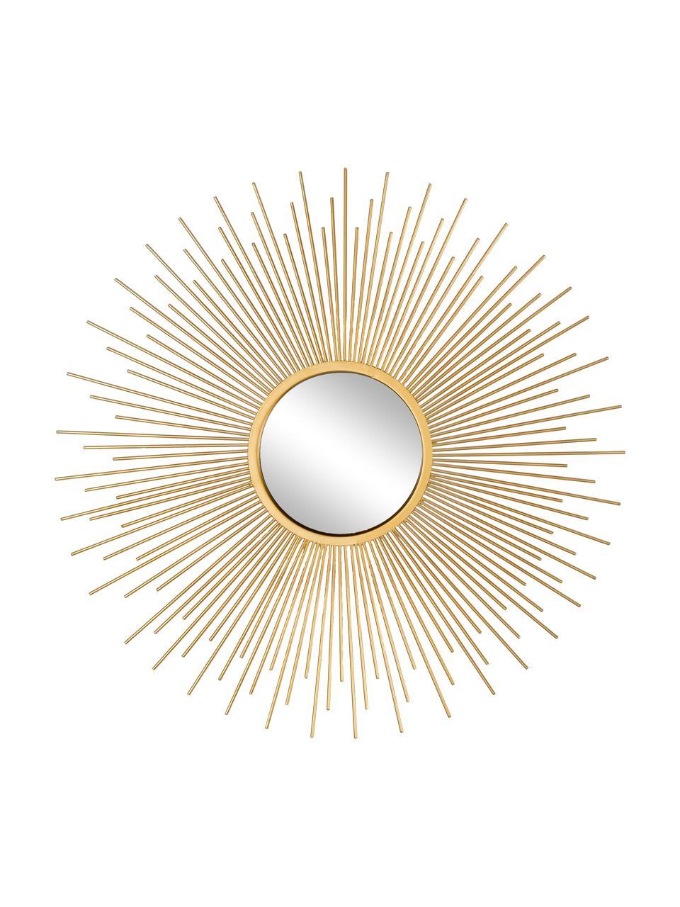 Wandspiegelsset Sun met goudkleurige lijst, 3-tlg, Lijst: gecoat aluminium, Goudkleurig, Set met verschillende formaten
