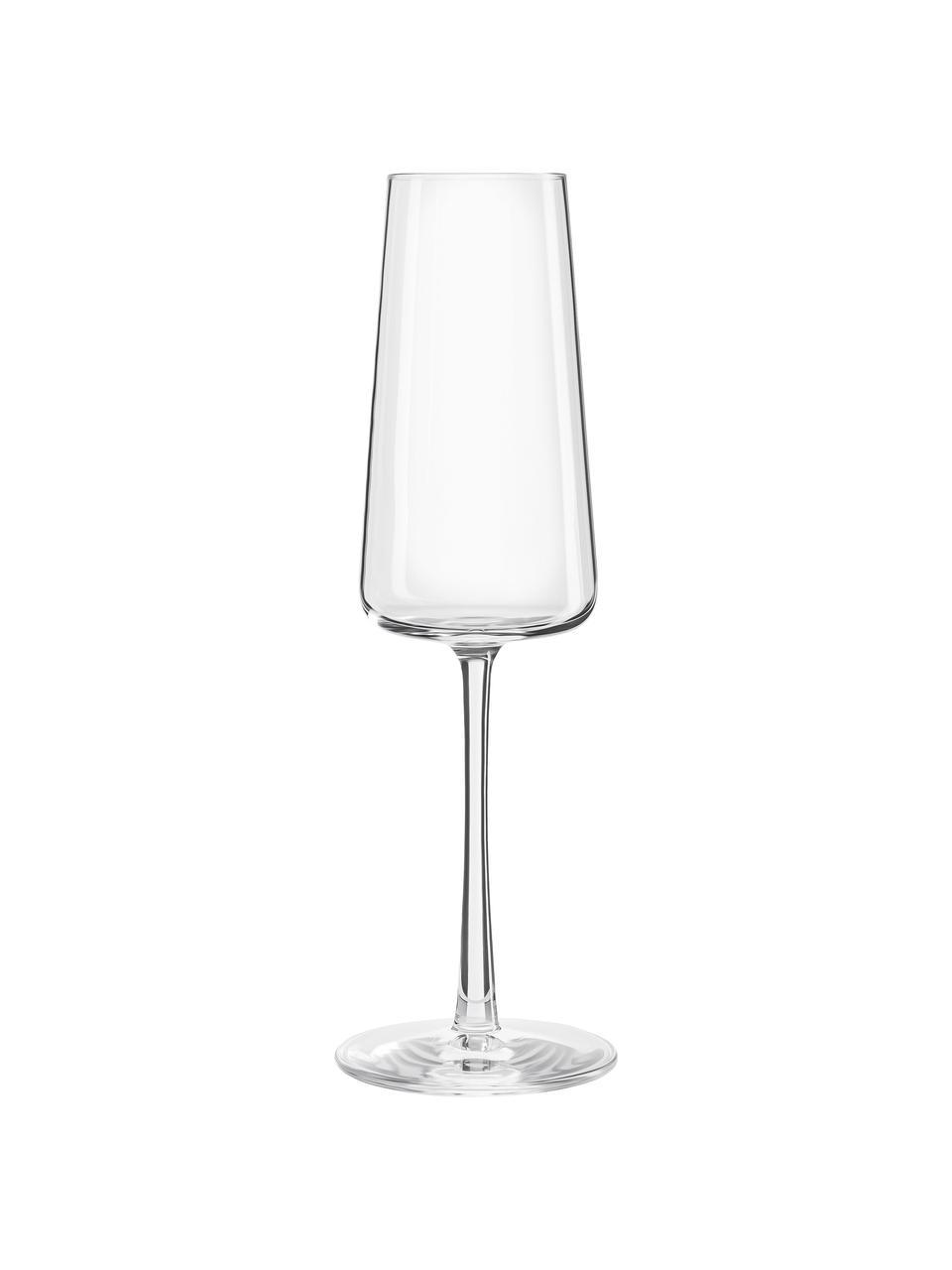 Křišťálová sklenice na sekt Power, 6 ks, Transparentní