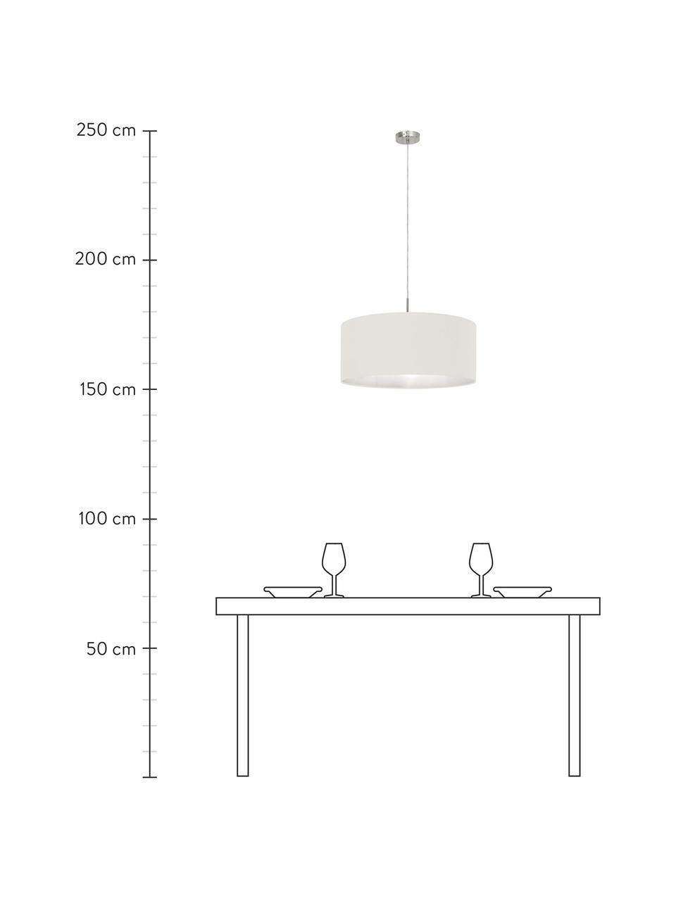 Hanglamp Parry, Baldakijn: vernikkeld metaal, Fitting: vernikkeld metaal, Lampenkap: textiel, Zilverkleurig, crèmewit, Ø 53  x H 25 cm