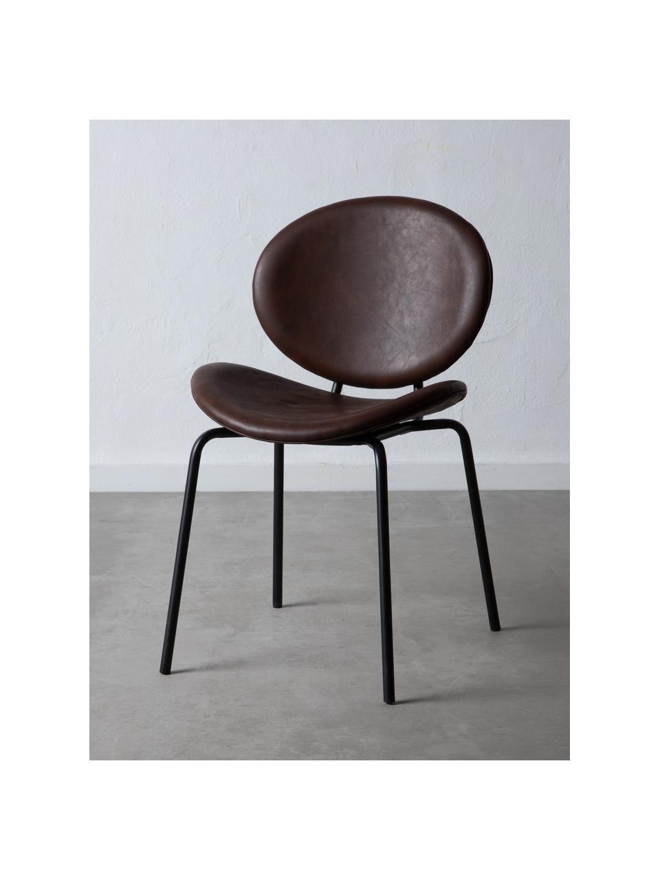 Krzesło tapicerowane ze sztucznej skóry Frankie, Tapicerka: sztuczna skóra (poliureta, Stelaż: polipropylen, Nogi: metal, Ciemny brązowy, czarny, S 53 x G 50 cm
