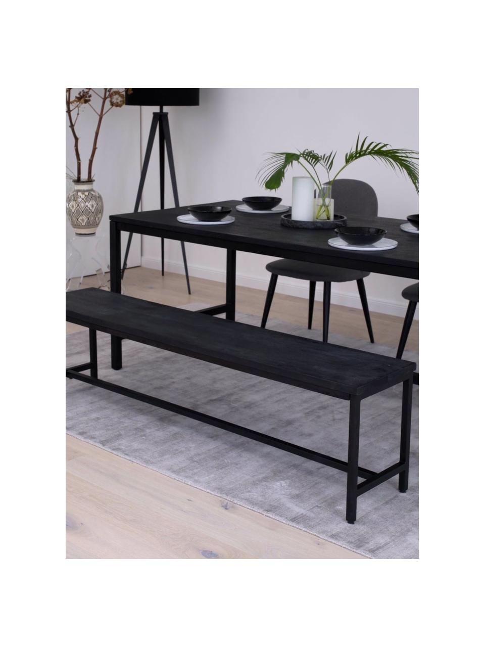 Banc en bois de manguier massif Raw, Assise: bois de manguier, noir laqué Structure: noir, mat