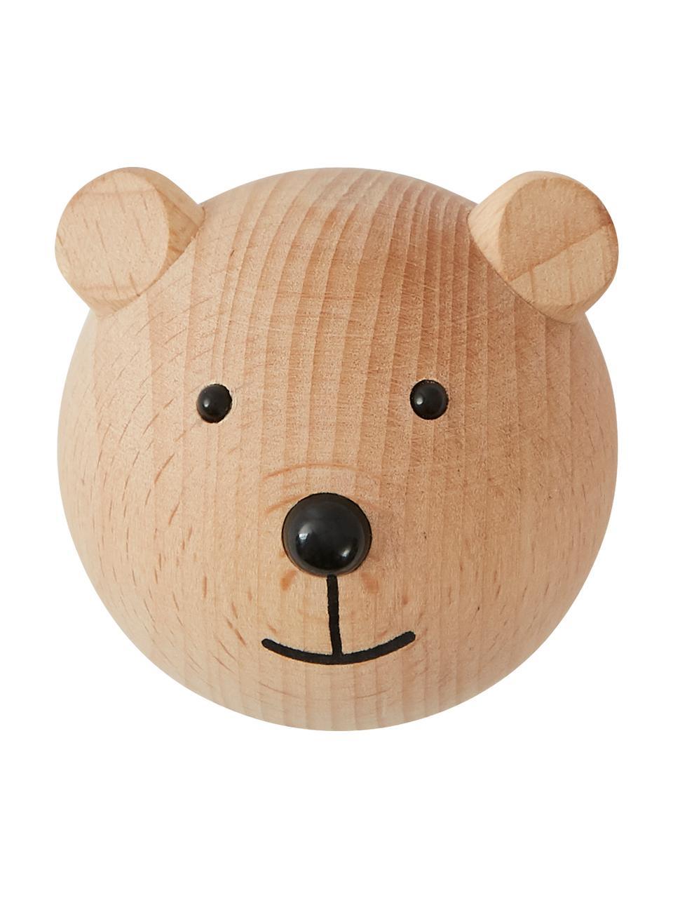 Patère en bois de hêtre Bear, Bois, noir