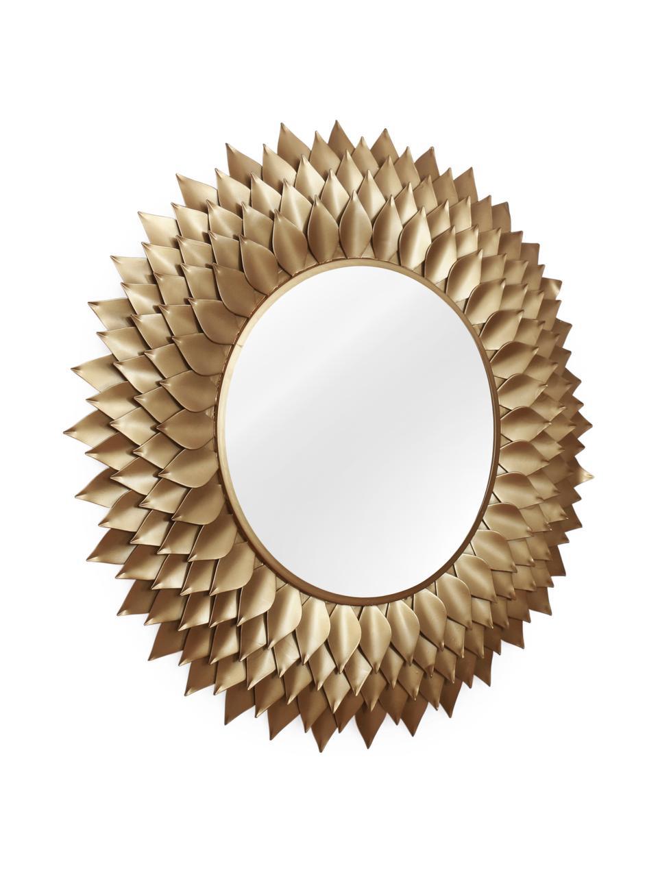 Runder Wandspiegel Petal mit goldenem Metallrahmen, Rahmen: Metall, beschichtet, Spiegelfläche: Spiegelglas, Goldfarben, Ø 95 x T 4 cm