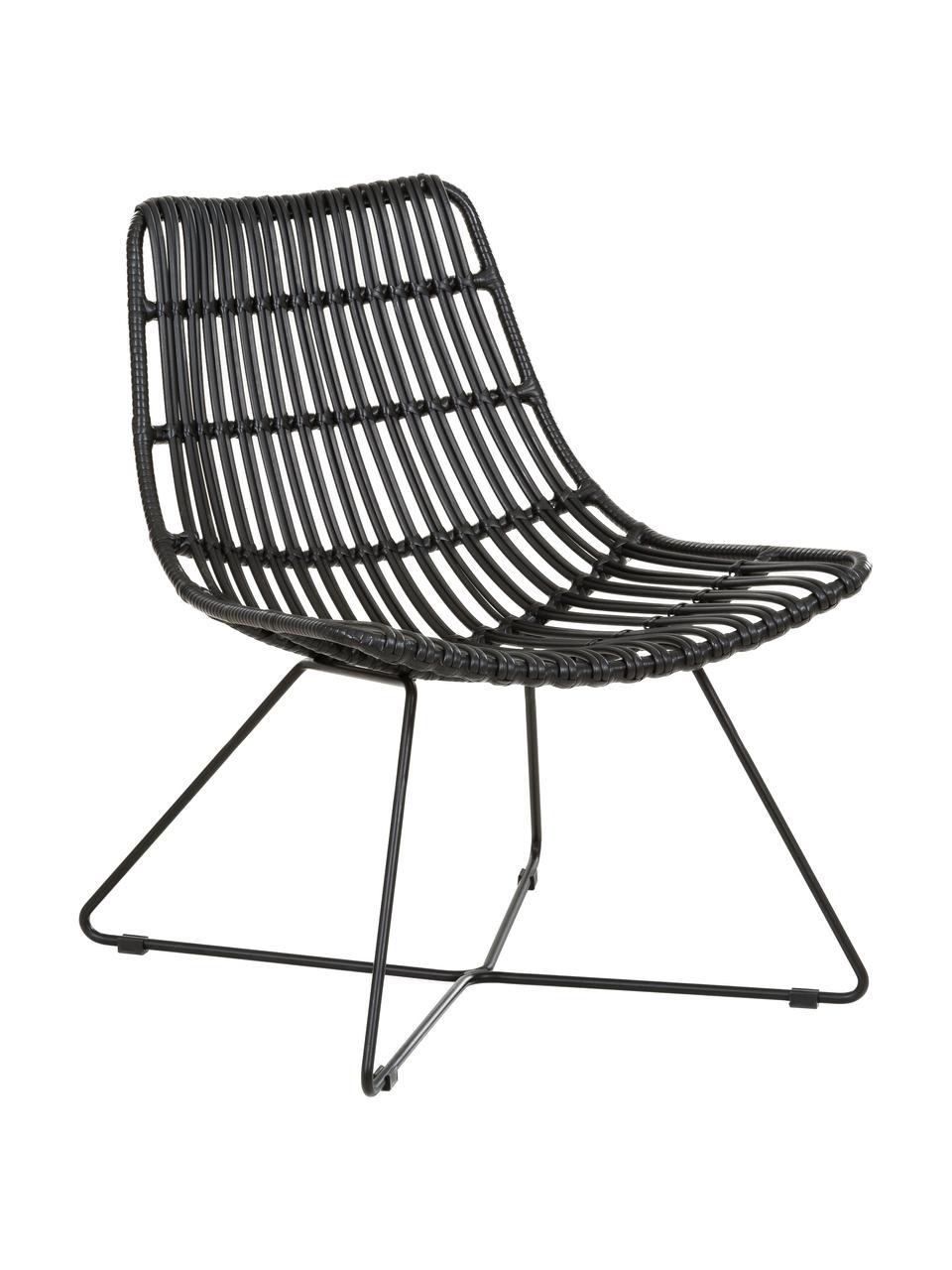 Polyrotan loungefauteuil Costa in zwart, Zitvlak: polyethyleen-vlechtwerk, Frame: gepoedercoat metaal, Zwart, B 64 x D 64 cm