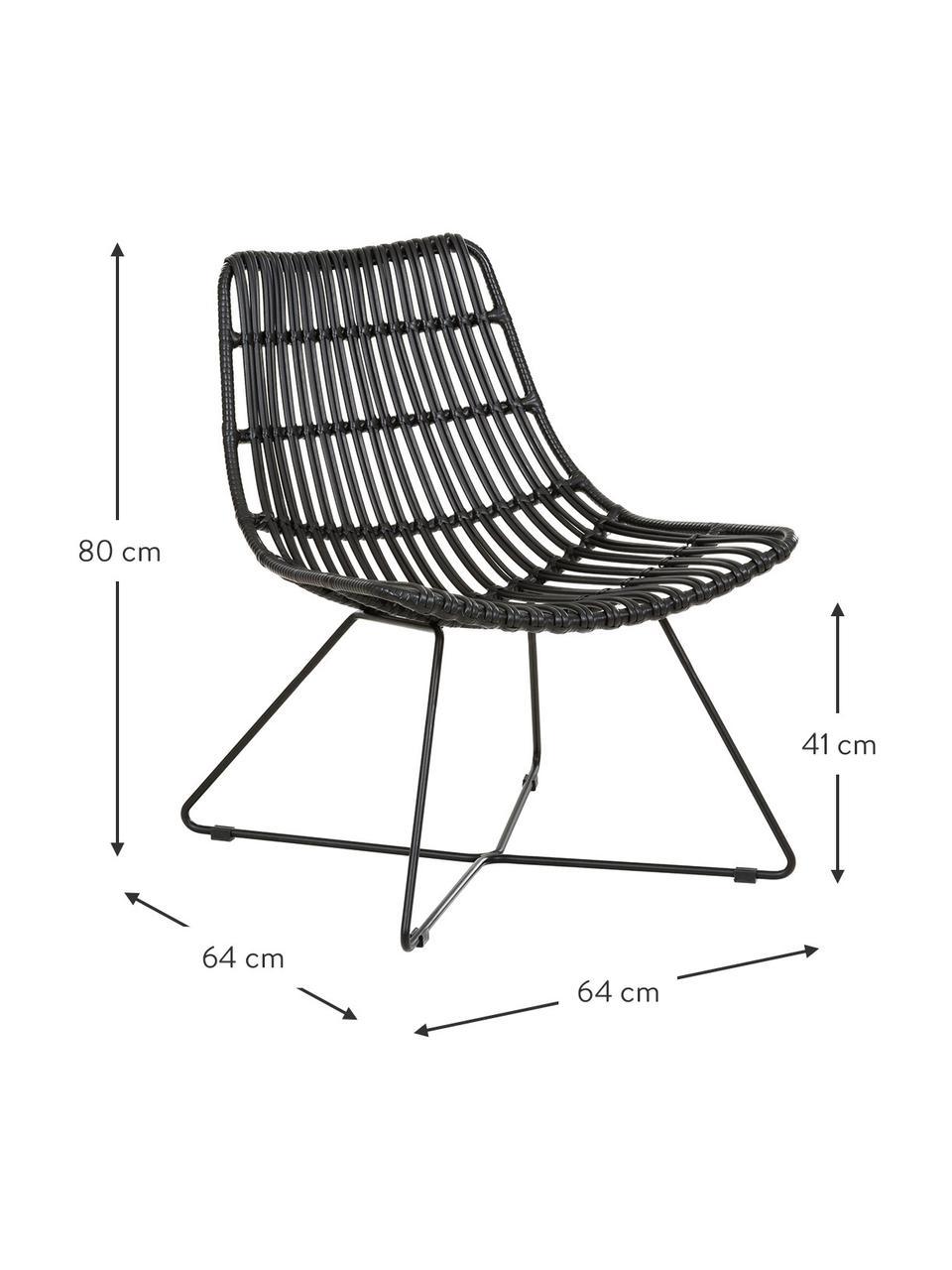 Boho fauteuil Costa in zwart, Zitvlak: polyethyleen-vlechtwerk, Frame: gepoedercoat metaal, Zwart, B 64 x D 64 cm