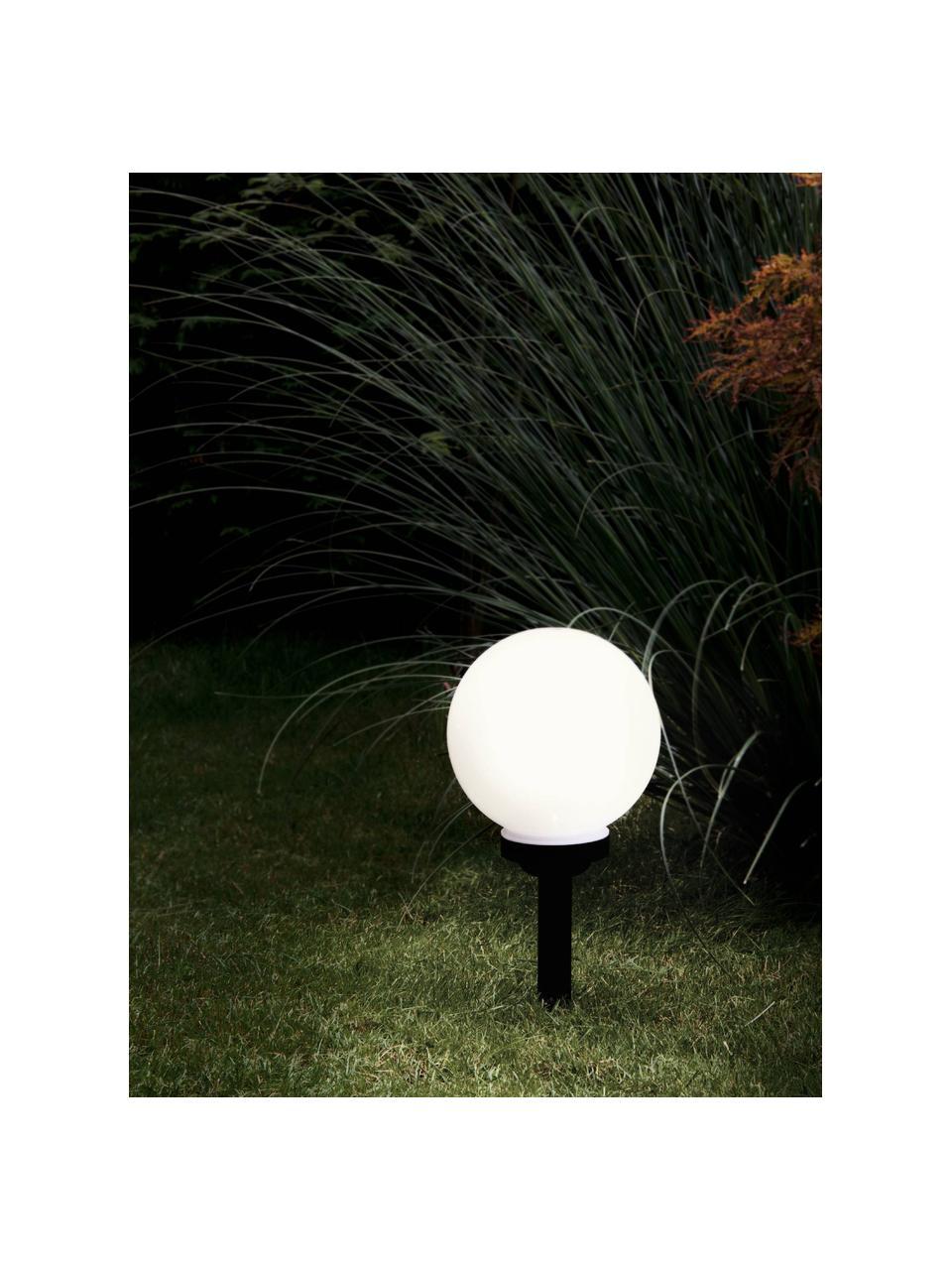Lampada da terra solare Zindy, Paralume: materiale sintetico, Nero, bianco, Ø 20 x Alt. 40 cm