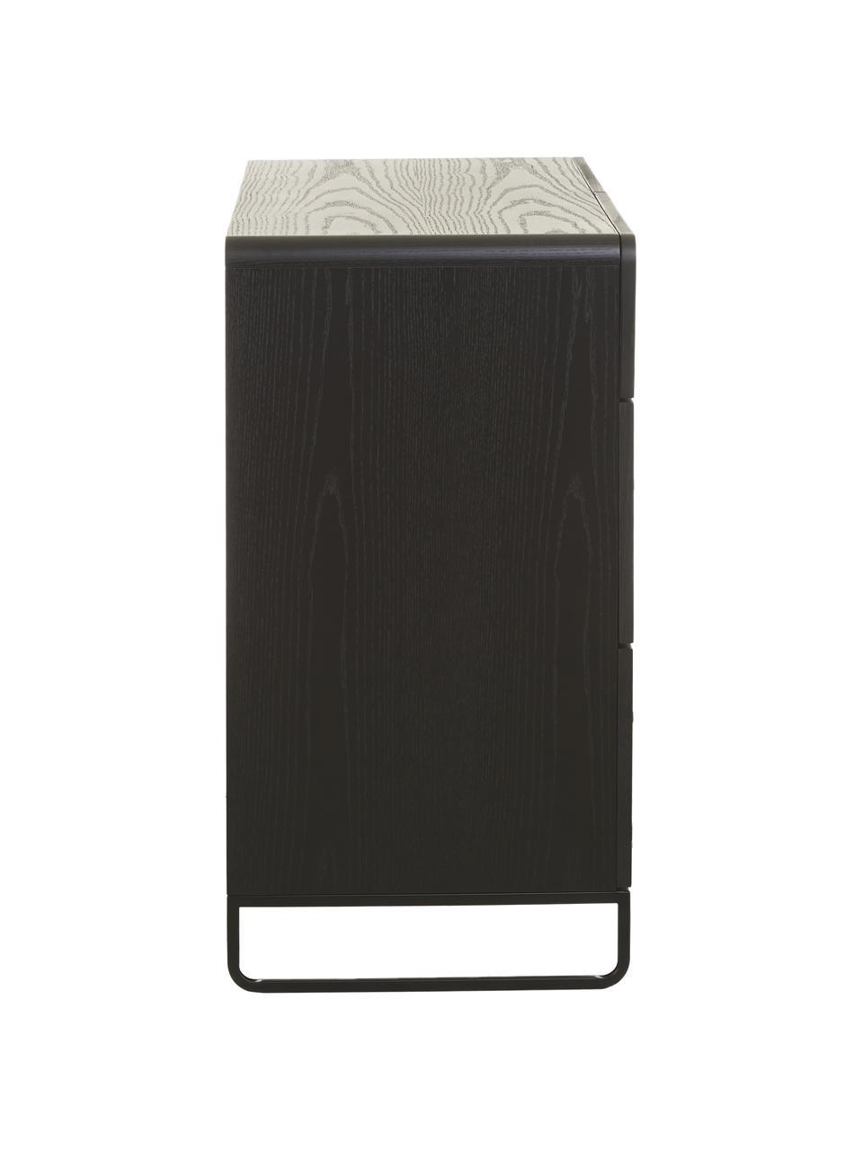 Cassettiera Sally, Struttura: metallo verniciato a polv, Legno scuro, nero, Larg. 100 x Alt. 80 cm
