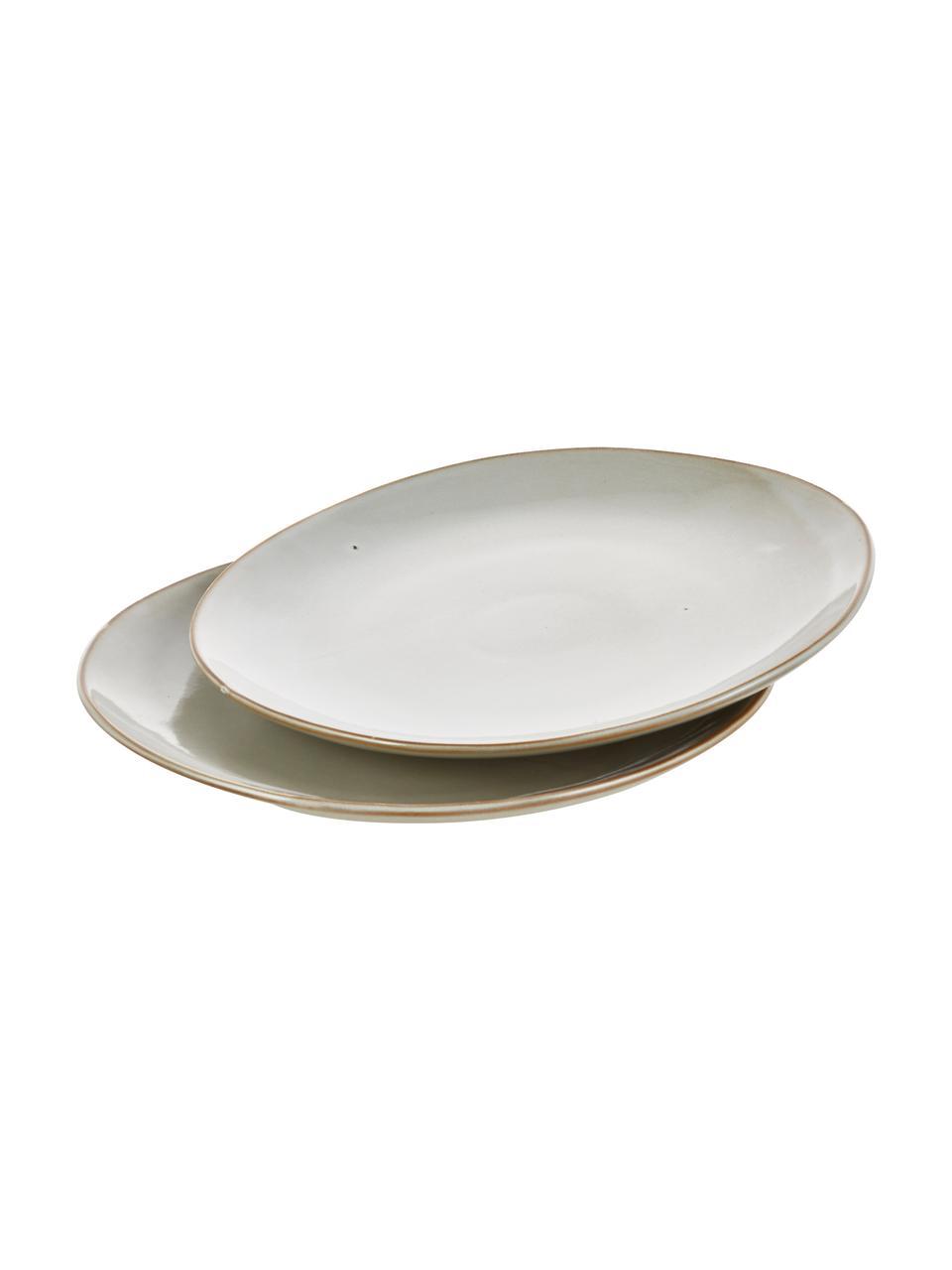 Assiette plate rustique en grès Thalia, 2pièces, Beige