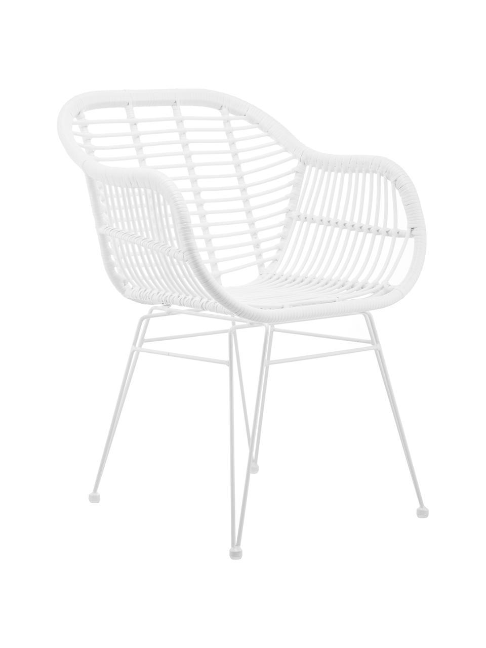 Polyrotan armstoelen Costa, 2 stuks, Zitvlak: polyethyleen-vlechtwerk, Frame: gepoedercoat metaal, Wit, wit, 59 x 58 cm