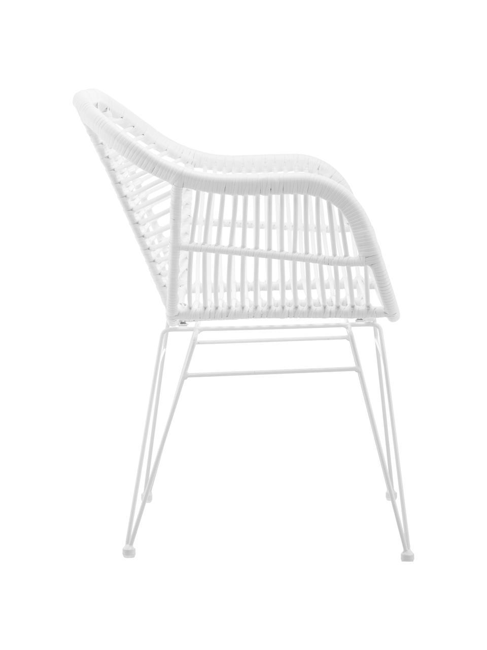 Polyrattan-Armlehnstühle Costa, 2 Stück, Sitzfläche: Polyethylen-Geflecht, Gestell: Metall, pulverbeschichtet, Weiß, Weiß, B 59 x T 58 cm