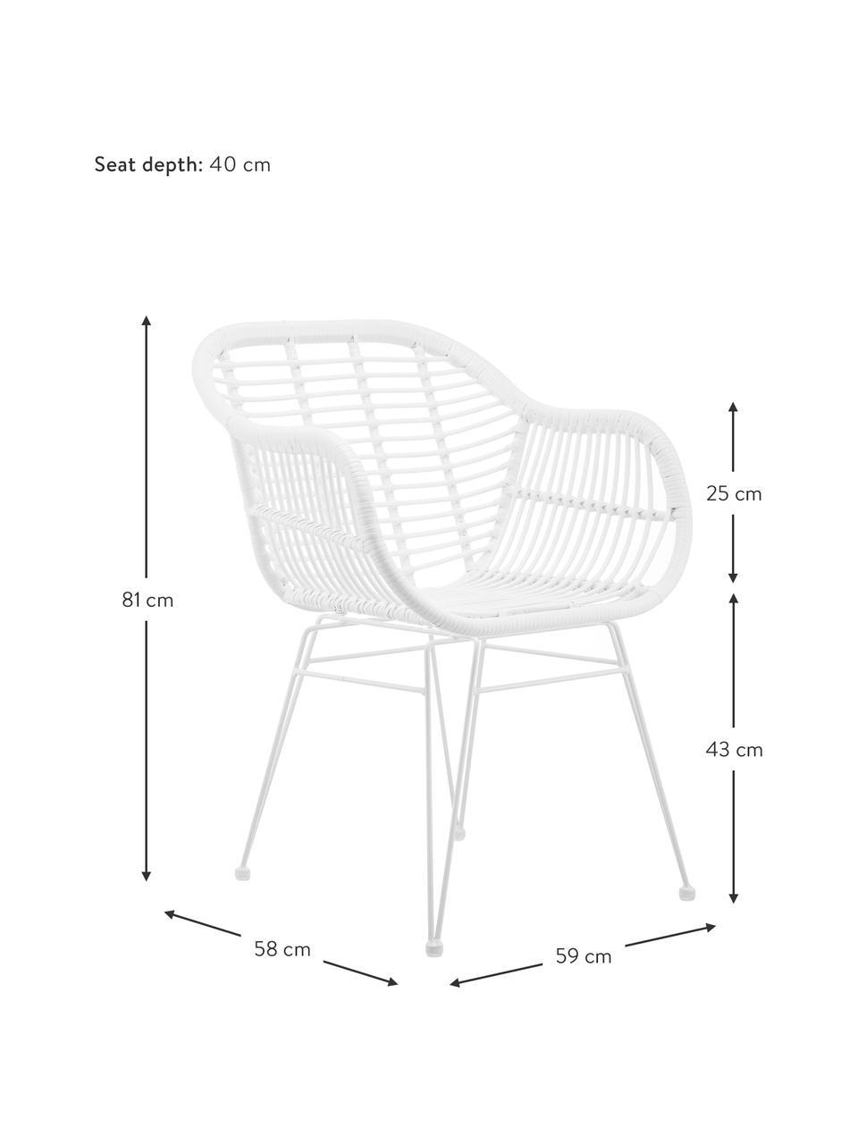 Sedia intrecciata con braccioli Costa 2 pz, Seduta: intreccio polietilene, Struttura: metallo verniciato a polv, Bianco, Larg. 59 x Prof. 58 cm