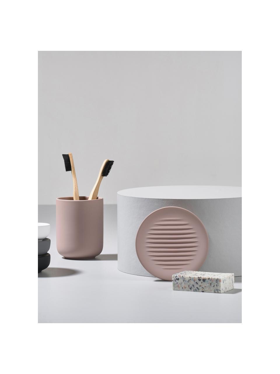 Porzellan-Seifenschale Ume, Steingut überzogen mit Soft-touch-Oberfläche (Kunststoff), Beige, Ø 12 x H 3 cm