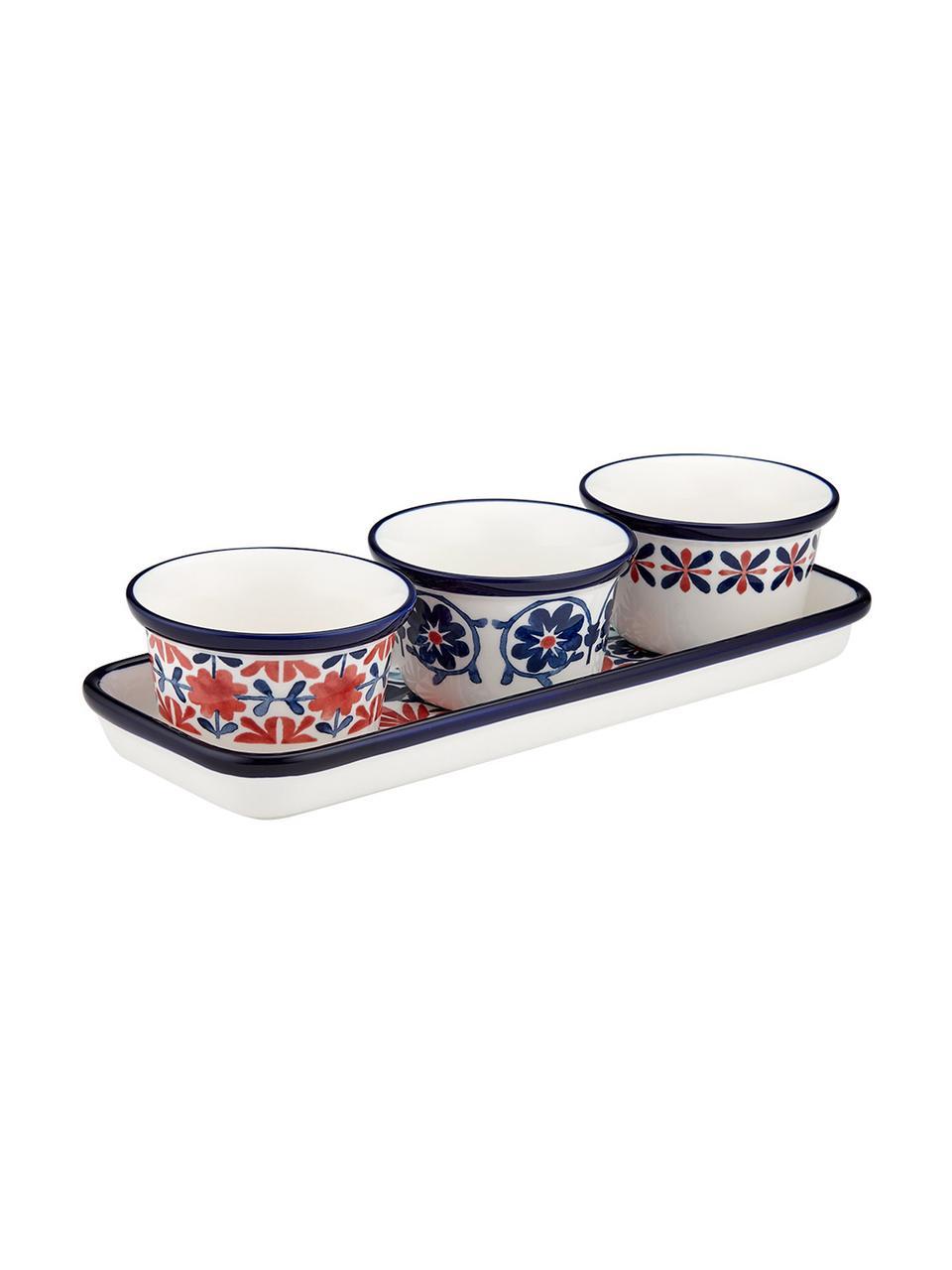Bunt bemalte Dipschälchen Fiesta, 4er-Set, New Bone China, Rot, Blautöne, Weiß, Ø 10 x H 6 cm