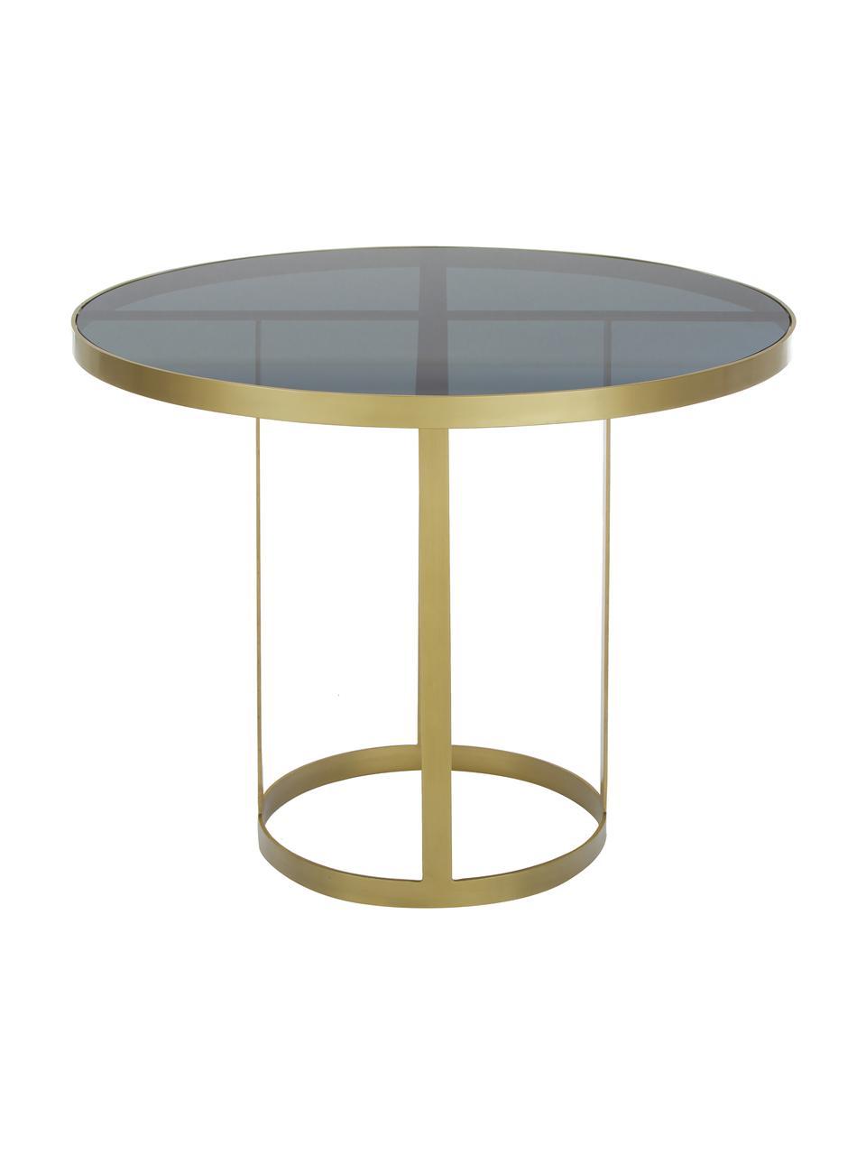 Table ronde en verre Marika, Ø 100 cm, Couleur dorée, transparent