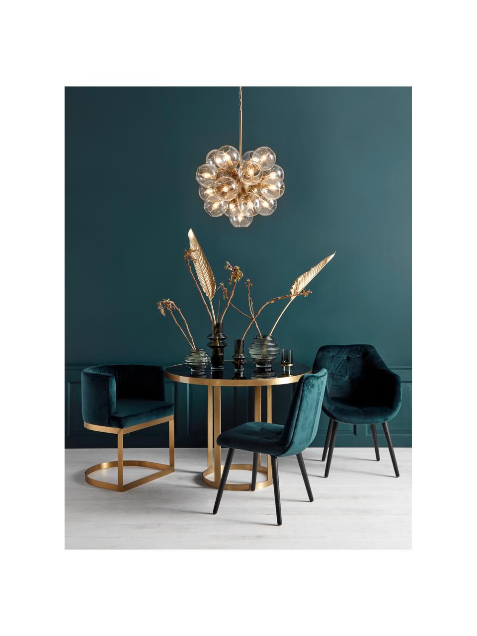 Okrągły stół do jadalni ze szklanym blatem Marika, Stelaż: metal lakierowany, Blat: szkło barwione, Transparentny, Ø 100 x W 76 cm