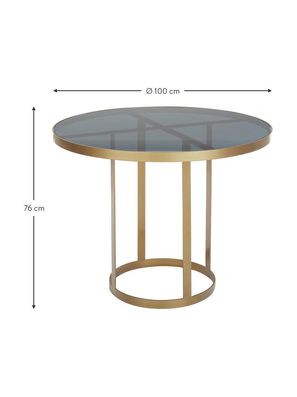 Runder Glas-Esstisch Marika, Gestell: Metall, lackiert, Tischplatte: Glas, getönt, Goldfarben,Transparent, Ø 100 x H 76 cm