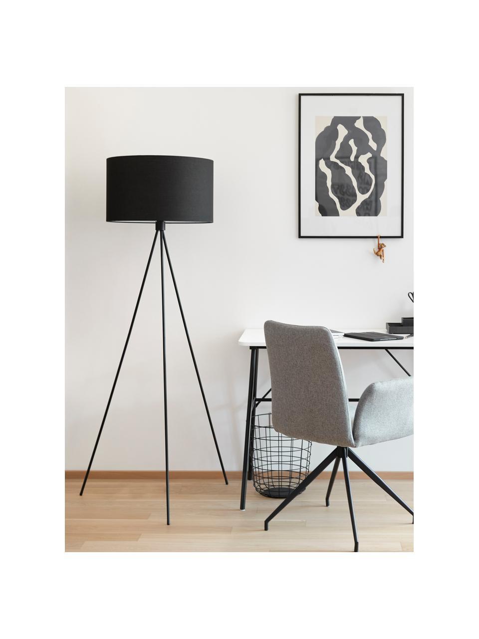 Lampa podłogowa z kloszem z tkaniny Cella, Czarny, Ø 45 x W 147 cm