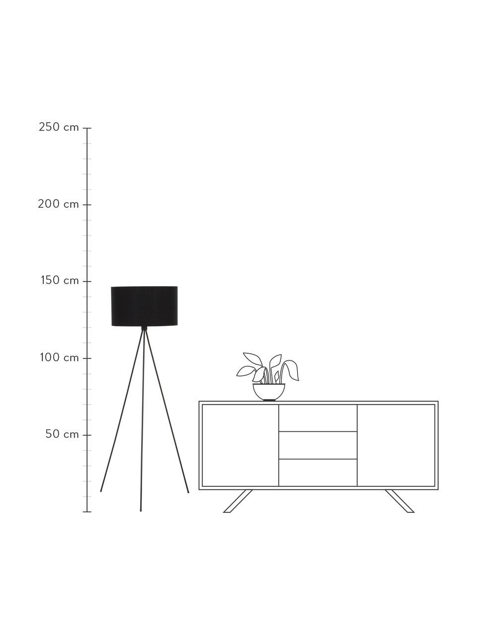 Tripod Stehlampe Cella mit Stoffschirm, Lampenschirm: Baumwollgemisch, Lampenfuß: Metall, pulverbeschichtet, Schwarz, Ø 45 x H 147 cm