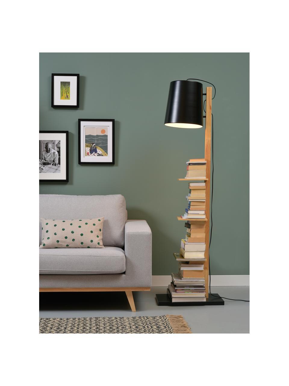 Liseuse en bois avec tablettes Cambridge, Noir, bois