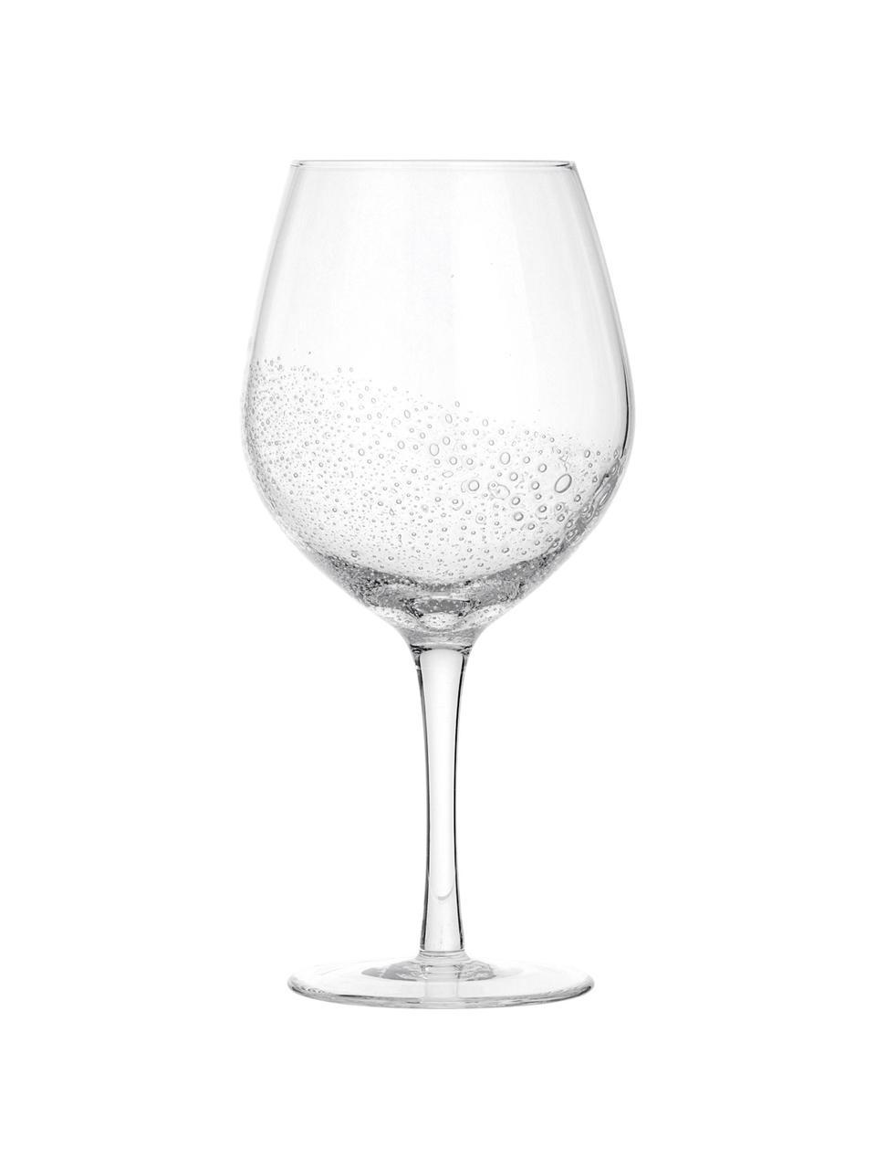 Mondgeblazen rode wijnglazen Bubble, 4 stuks, Mondgeblazen glas, Transparant met luchtbellen, Ø 10 x H 22 cm