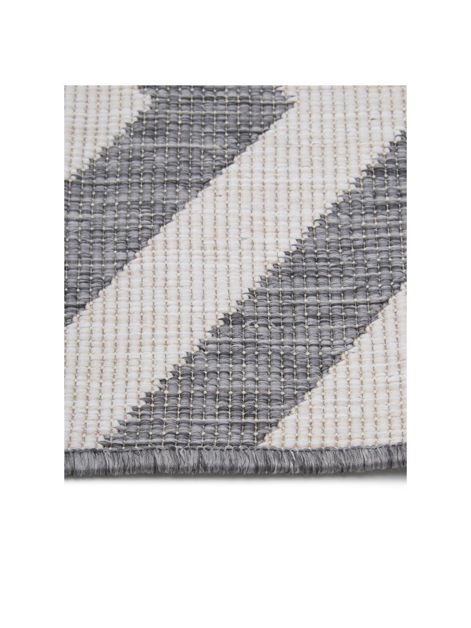 In- & Outdoor-Teppich Palma mit Zickzack-Muster, beidseitig verwendbar, 100% Polypropylen, Grau, Creme, B 160 x L 230 cm (Größe M)