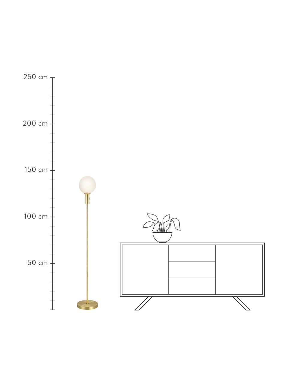 Lampada da terra in vetro opale Minna, Base della lampada: metallo ottonato, Paralume: vetro opale, Ottone, Ø 22 x Alt. 144 cm