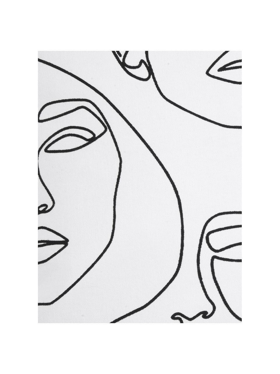 Kussenhoes Aria met abstracte One Line tekening, Weeftechniek: panama, Wit, zwart, 40 x 40 cm