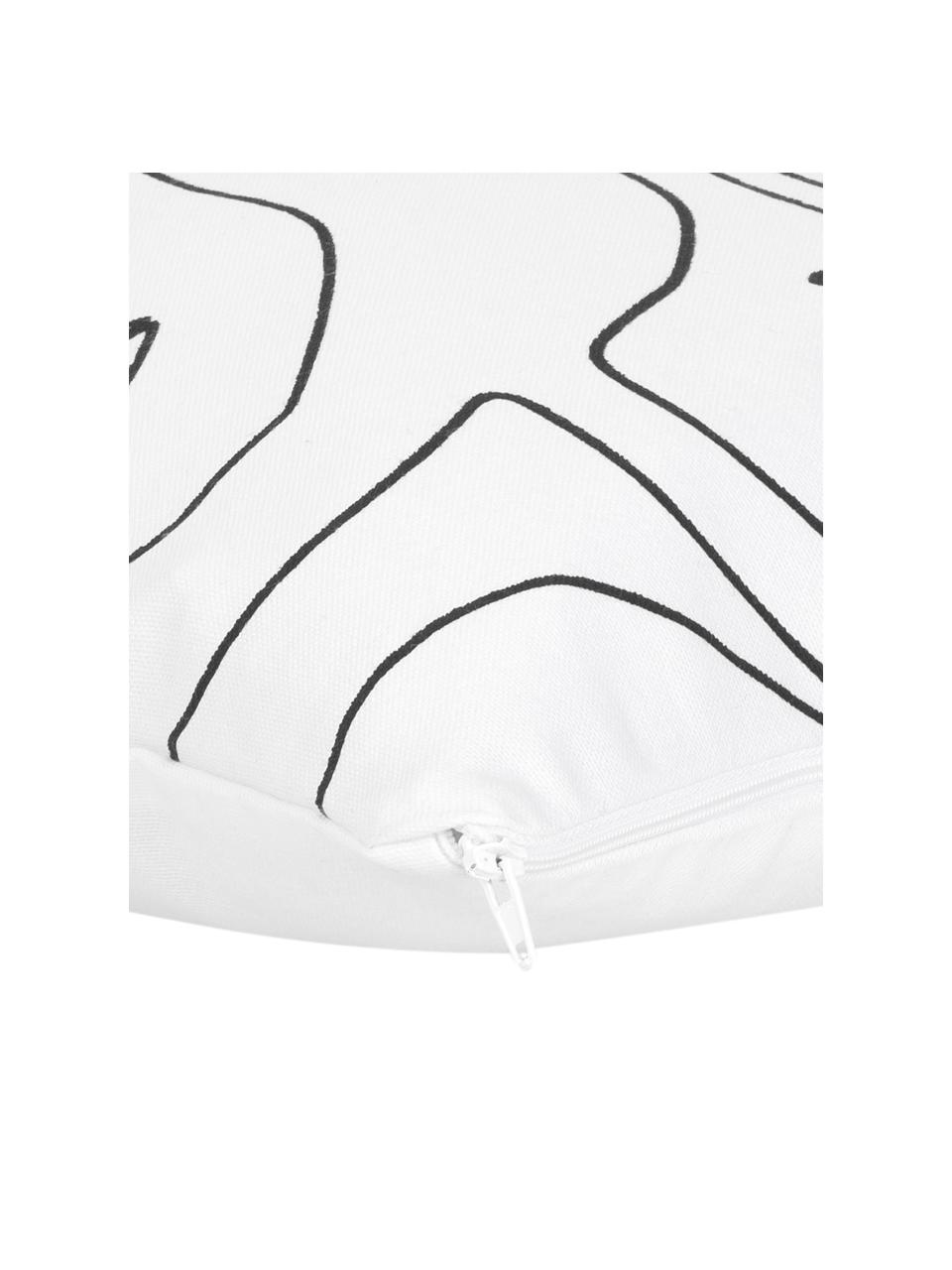 Funda de cojín Aria, Blanco, negro, An 40 x L 40 cm
