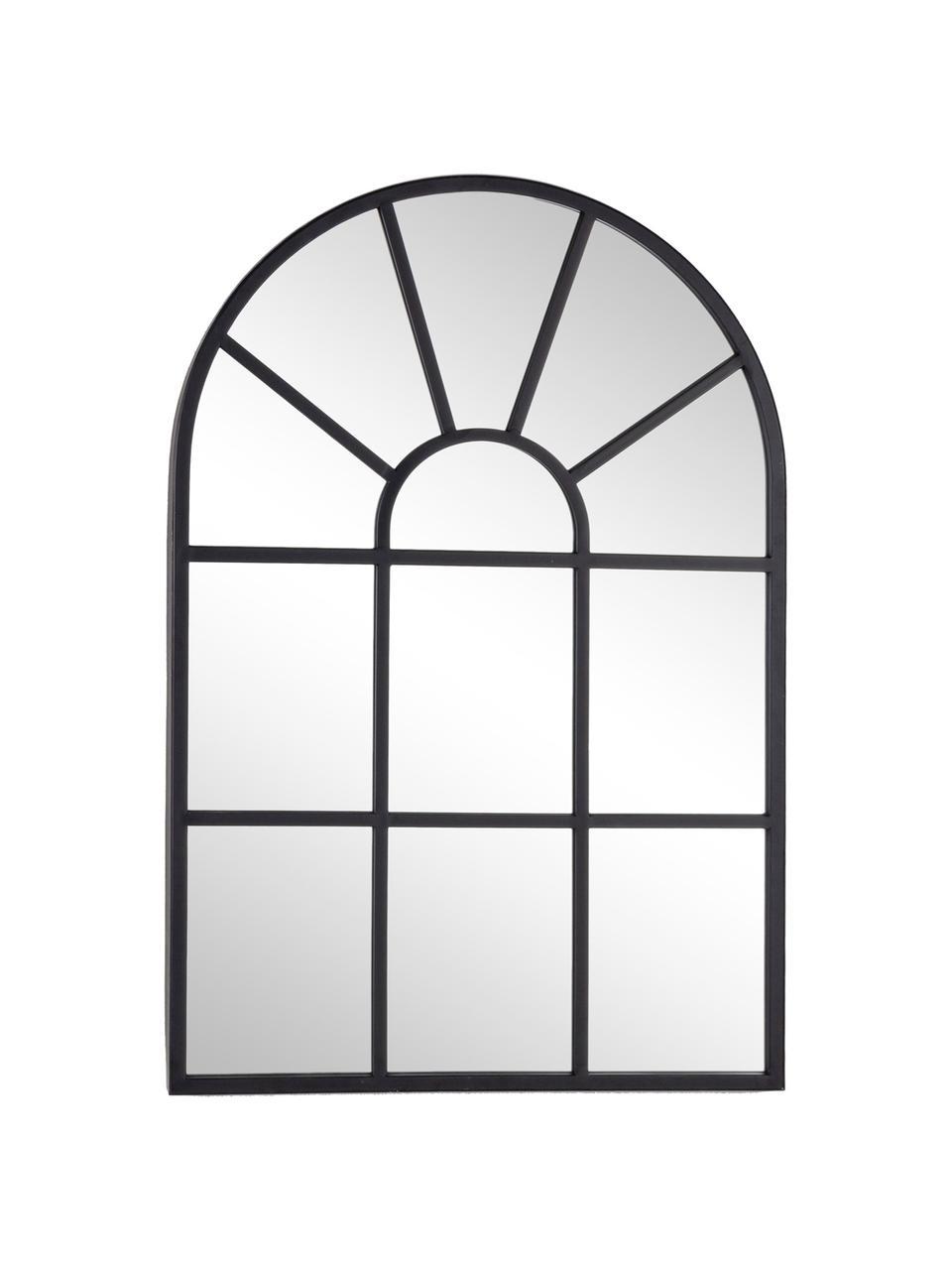 Wandspiegel Reflix mit schwarzem Metallrahmen, Rahmen: Metall, beschichtet, Spiegelfläche: Spiegelglas, Schwarz, 58 x 87 cm