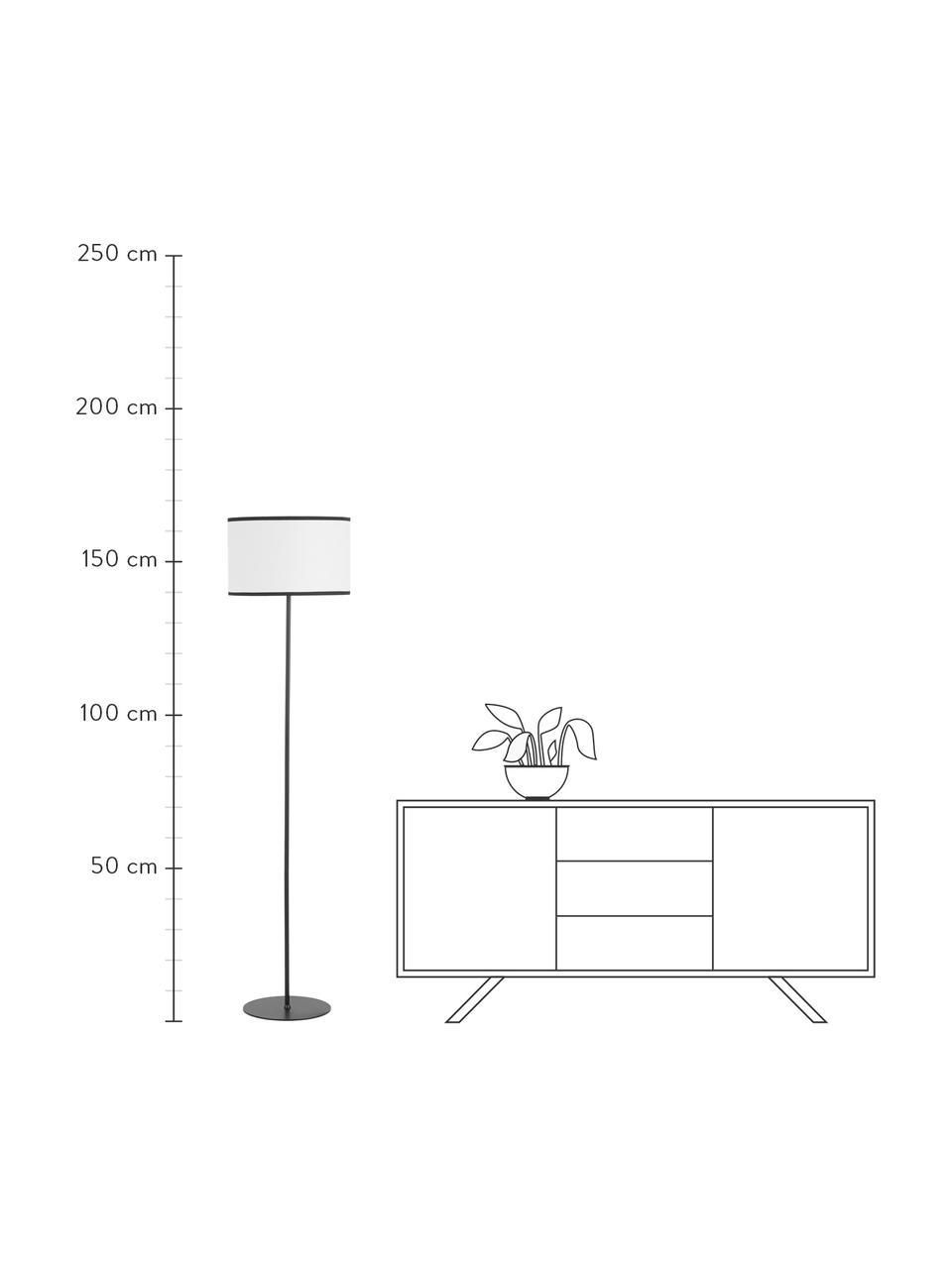 Vloerlamp Claudette met linnen kap, Lampenkap: linnen,gestructureerd, Lampvoet: gepoedercoat metaal, Crèmekleurig, zwart, Ø 40 x H 165 cm