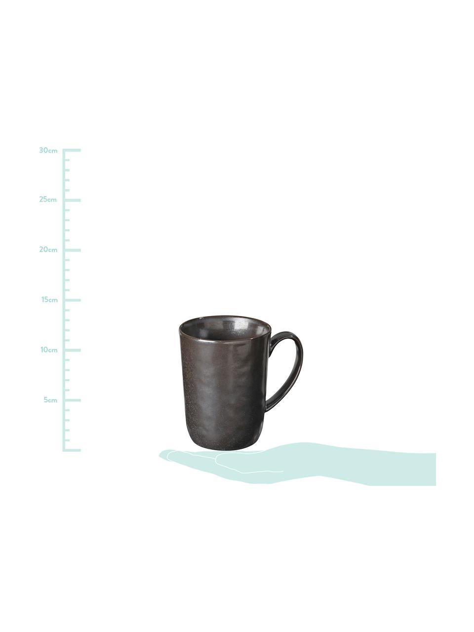 Handgemachte Tassen Esrum Night, 4 Stück, Steingut, glasiert, Graubraun, matt silbrig schimmernd, Ø 12 x H 11 cm