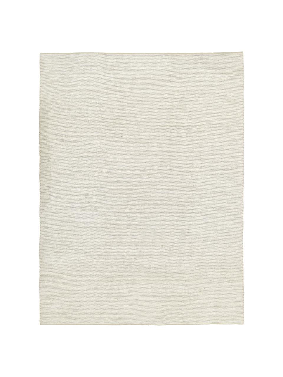 Handgeweven wollen vloerkleed Uno in crèmekleur met gevlochten structuur, Bovenzijde: 60% wol, 40% polyester, Onderzijde: 100% katoen Bij wollen vl, Crèmekleurig, B 200 x L 300 cm (maat L)