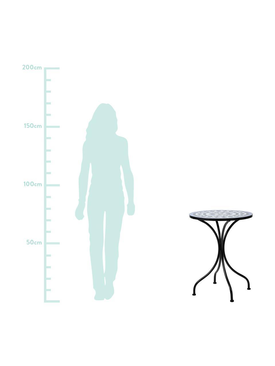 Gartentisch Palazzo mit Mosaik, Tischplatte: Keramik-Mosaiksteine, Beine: Metall, pulverbeschichtet, Schwarz, Blau, Weiß, Ø 55 x H 71 cm