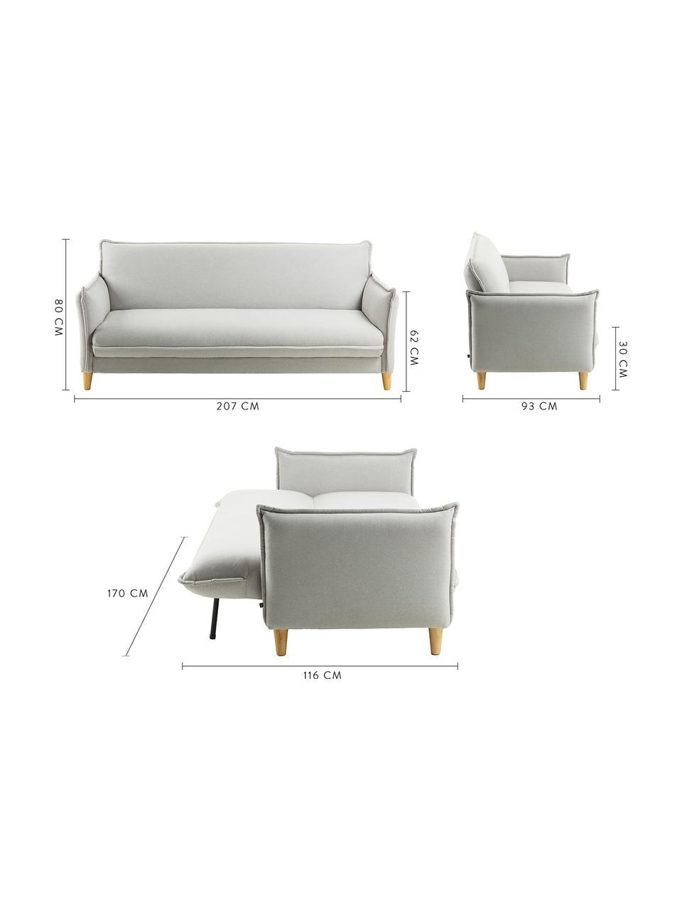 Schlafsofa Alizee (3-Sitzer), Bezug: Polyester Der hochwertige, Füße: Buchenholz, massiv, natur, Webstoff Hellgrau, B 207 x T 93 cm