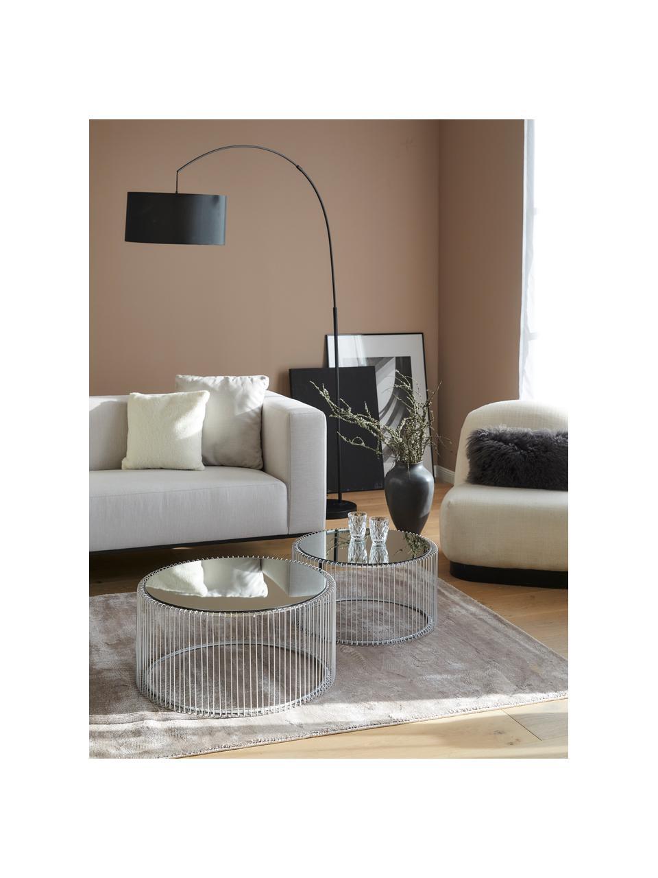 Metall-Couchtisch 2er-Set Wire mit Glasplatte, Gestell: Metall, pulverbeschichtet, Tischplatte: Sicherheitsglas, foliert, Chrom, Sondergrößen