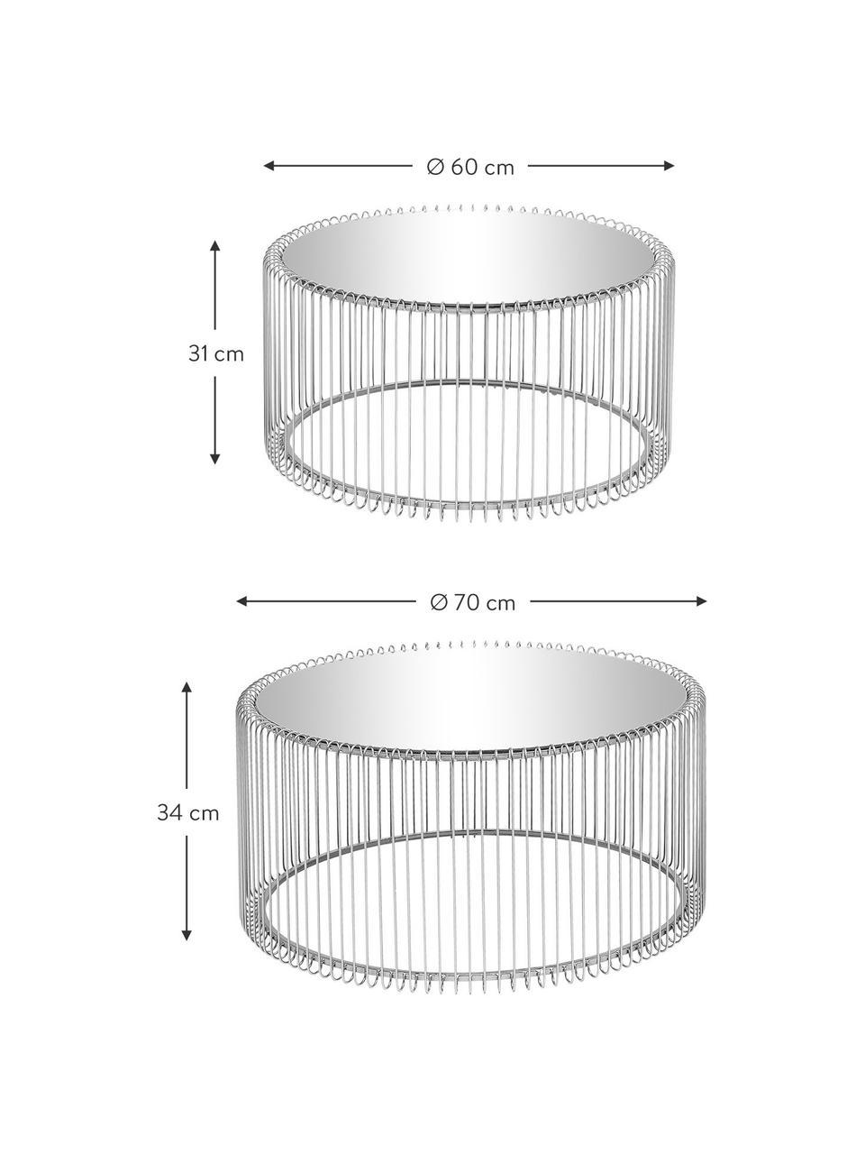 Komplet stolików kawowych z metalu ze szklanym blatem Wire, 2 elem., Stelaż: metal malowany proszkowo, Blat: szkło hartowane, foliowan, Chrom, Komplet z różnymi rozmiarami