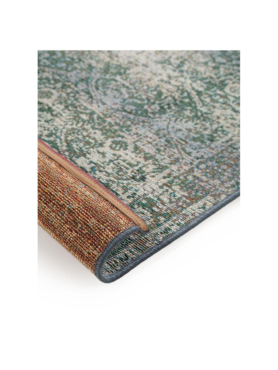 Passatoia vintage da interno-esterno Artis, 76% polipropilene, 23% poliestere, 1% lattice, Verde, beige, Larg. 80 x Lung. 250 cm