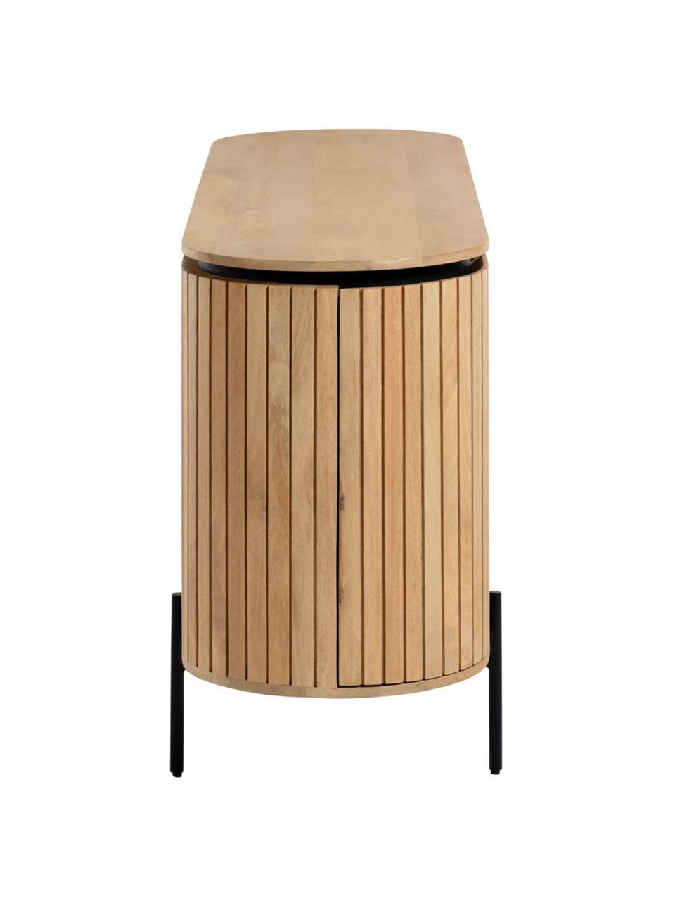 Komoda z litego drewna mangowego z drzwiczkami Licia, Korpus: drewno mangowe, polerowan, Nogi: metal lakierowany, Beżowy, czarny, S 170 x W 80 cm