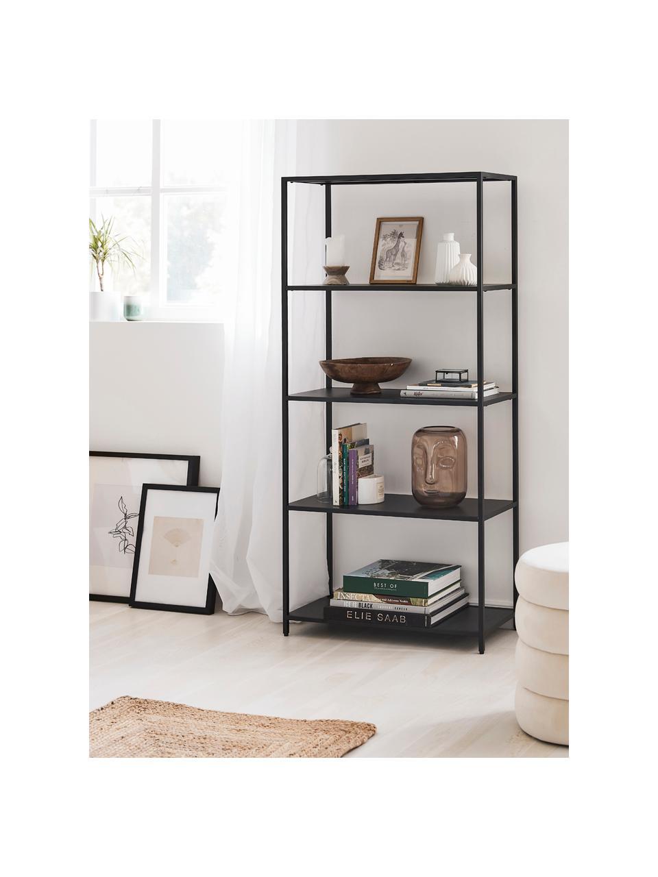 Libreria in metallo nero Newton, Metallo verniciato a polvere, Nero, Larg. 70 x Alt. 150 cm