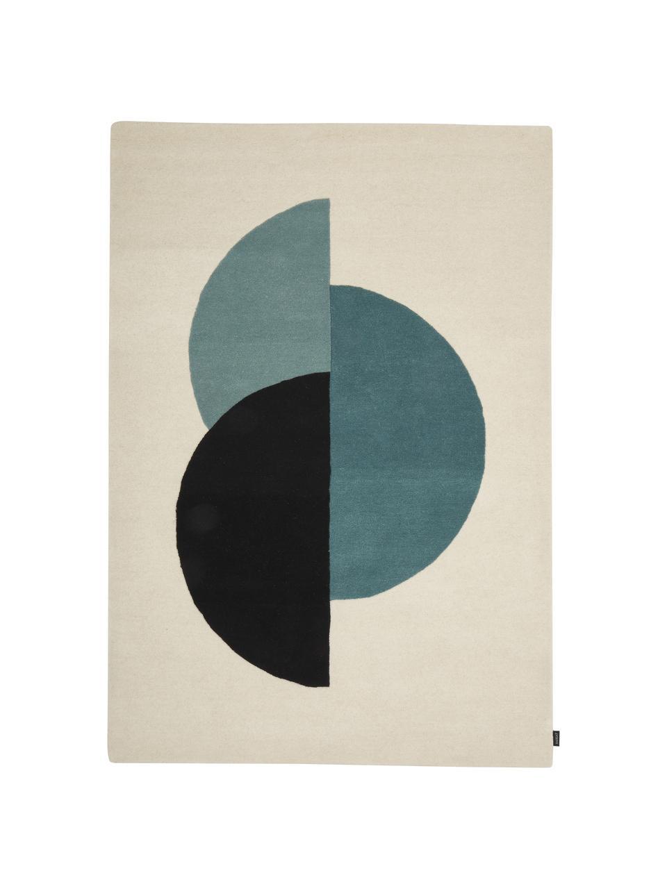 Handgetufteter Wollteppich Zenia in Beige/Blau mit abstraktem Muster, 100% Wolle, Cremefarben, Blau, Schwarz, B 170 x L 240 cm (Größe M)