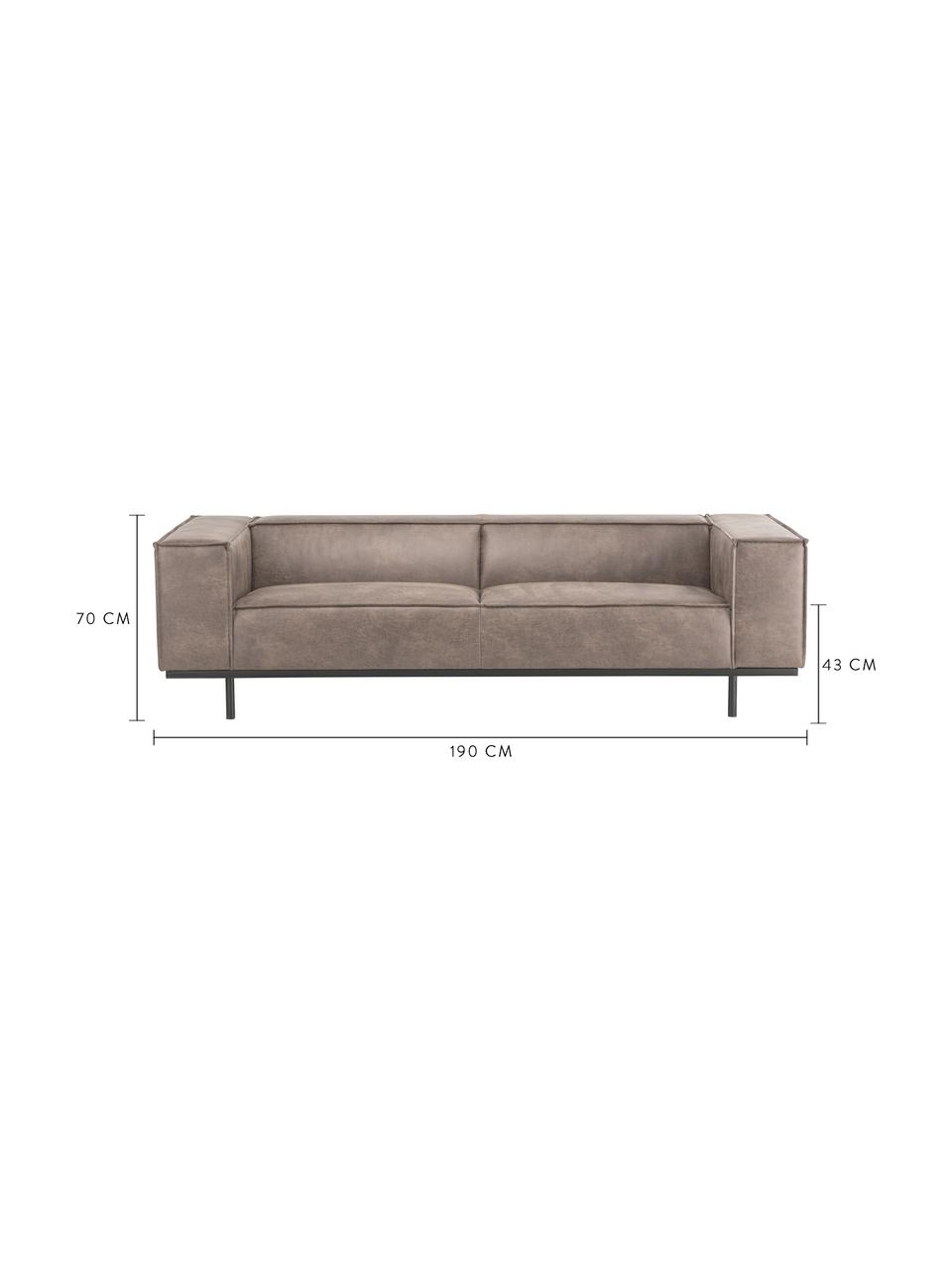 Leder-Sofa Abigail (2-Sitzer) in Cognacfarben mit Metall-Füßen, Bezug: Lederfaserstoff (70% Lede, Beine: Stahl, lackiert, Leder Cognac, B 190 x T 95 cm
