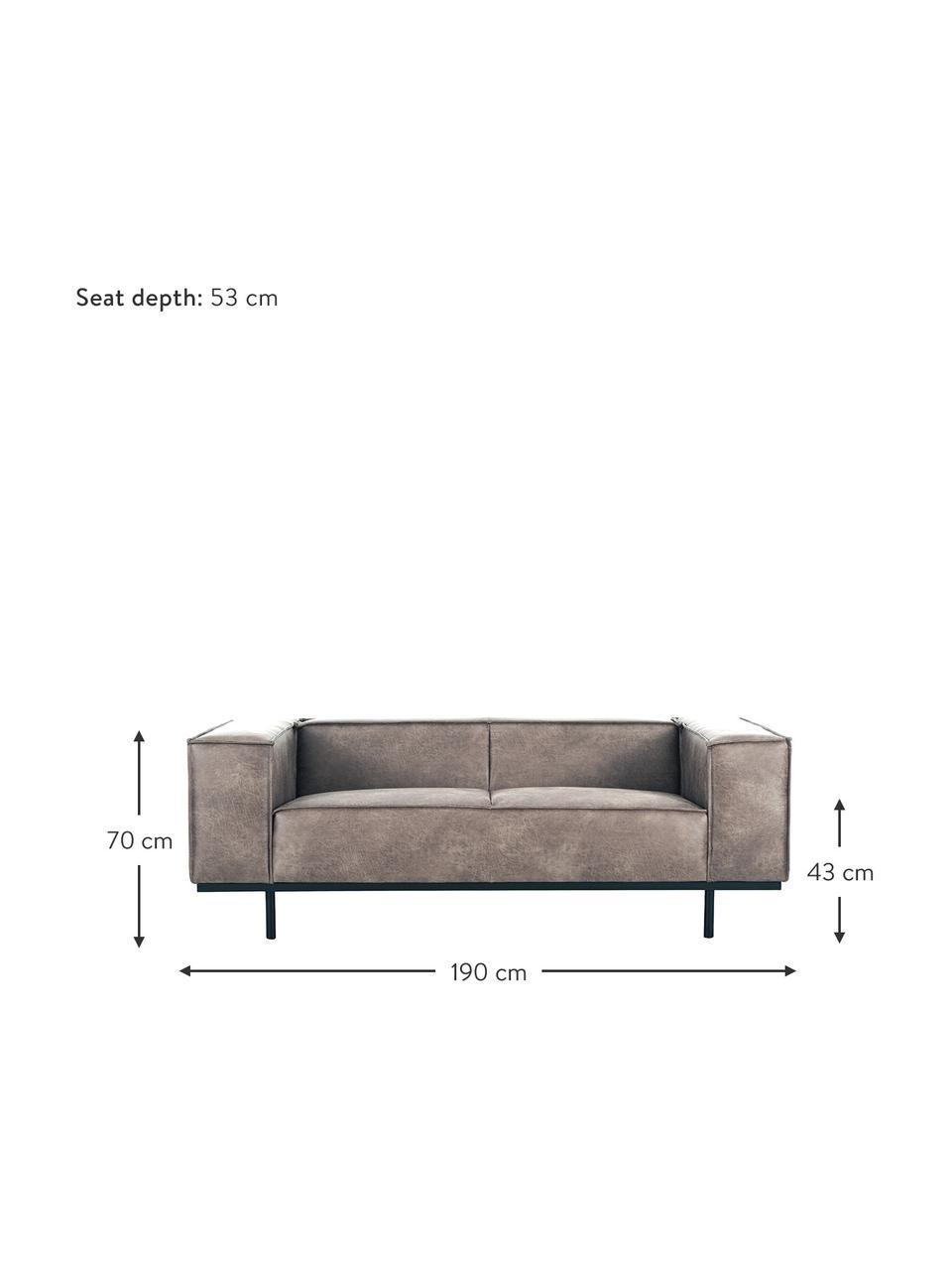 Sofa ze skóry z metalowymi nogami Abigail (2-osobowa), Tapicerka: skóra naturalna (70% skór, Nogi: metal lakierowany, Koniakowy, S 190 x G 95 cm