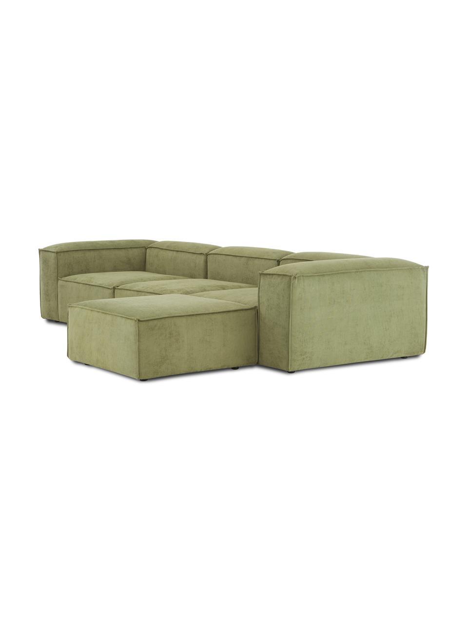 Modulares Sofa Lennon (4-Sitzer) mit Hocker in Grün aus Cord, Bezug: Cord (92% Polyester, 8% P, Gestell: Massives Kiefernholz, Spe, Füße: Kunststoff Die Füße befin, Cord Grün, B 327 x T 207 cm