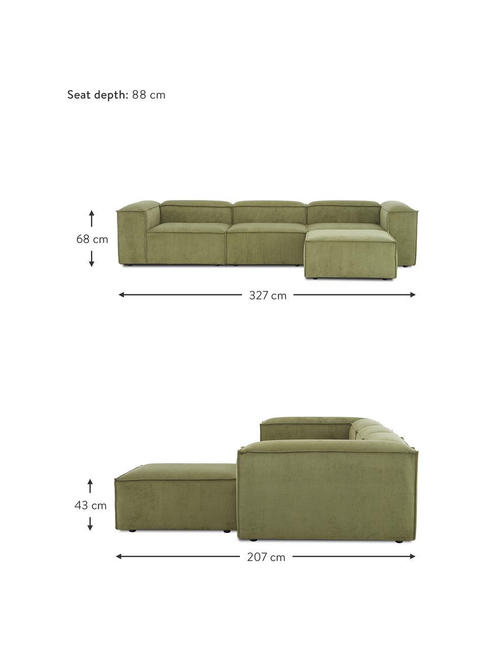 Narożna sofa modułowa ze sztruksu z pufem Lennon (4-osobowa), Tapicerka: sztruks (92% poliester, 8, Stelaż: lite drewno sosnowe, skle, Nogi: tworzywo sztuczne Nogi zn, Sztruksowy zielony, S 327 x G 207 cm