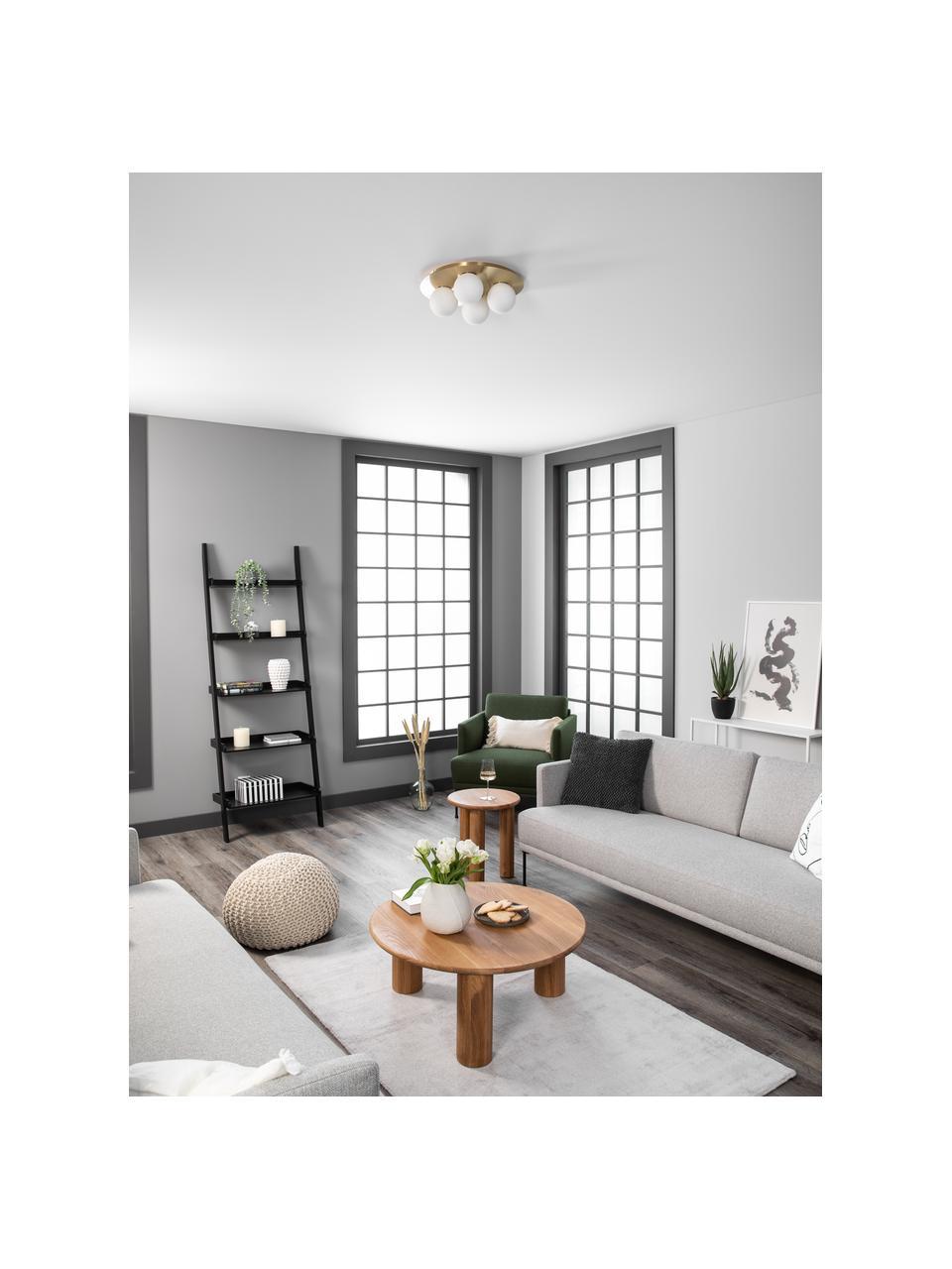 Kinkiet/lampa sufitowa ze szkła opalowego Hitch, Osłona mocowania sufitowego i oprawa: mosiądz, matowy Klosz: biały, Ø 36 x W 12 cm